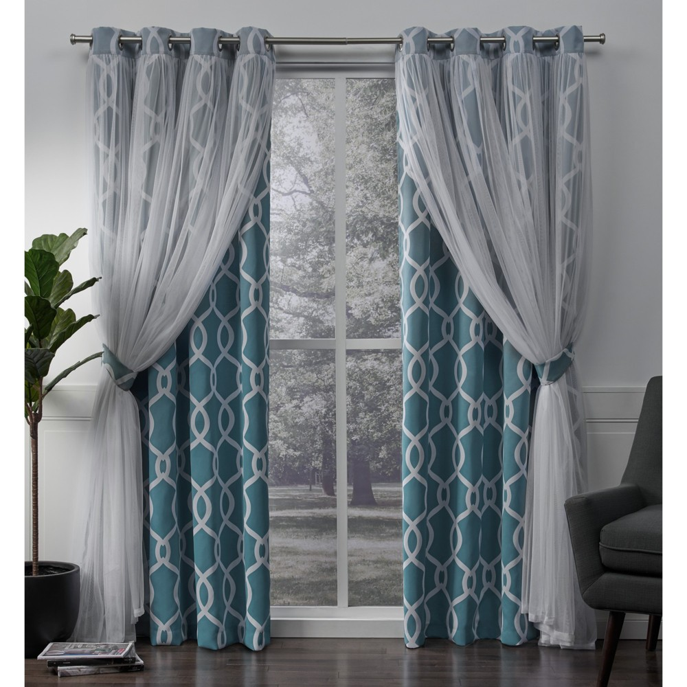 Carmela Layered Geometric Woven Blackout with Sheer Top Curtain panels Turquoise 52x96 - Exclusive Home, Blue