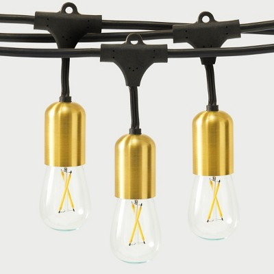 Brightech Glow Heavy Duty LED Waterproof Outdoor 15 Bulb String Lights with Brass Sockets for Outside, Backyard, and Patio, 48 Feet