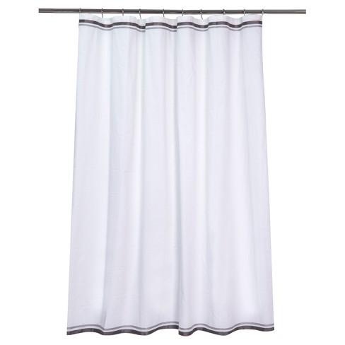 Ribbon Border Shower Curtain White Black Gray Target