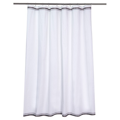 Ribbon Border Shower Curtain White Black Gray