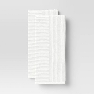 2pk Cotton Solid Ribbed Terry Kitchen Towels White - Project 62™