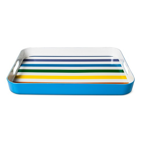 "Melamine Serving Tray 19.1"" x 13.6"" Stripes - Blue - image 1 of 1"