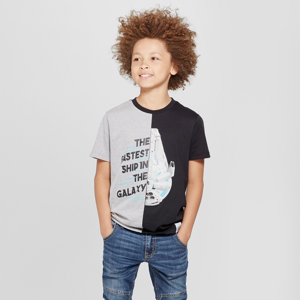 Boys' Star Wars Millennium FalconShort Sleeve T-Shirt - Heather Gray XS