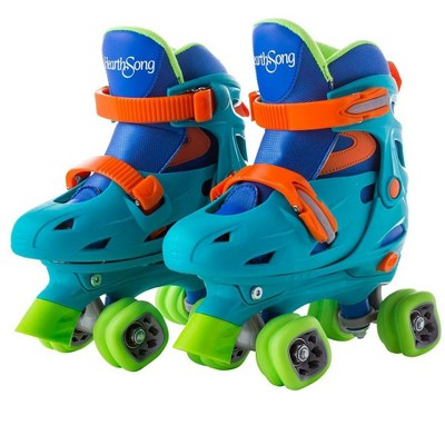 HearthSong - One2Go Adjustable Roller Skates Featuring Easy-Rolling Shark Wheels Jr. with Hard Shell Ankle Support, Adjustable for Kids' Shoe Sizes 1-4