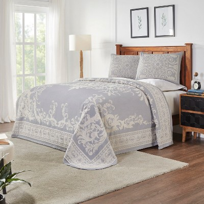 Traditional Medallion Lightweight Textured Woven Jacquard Cotton Blend 2-Piece Bedspread Set, Twin, Slate Blue - Blue Nile Mills