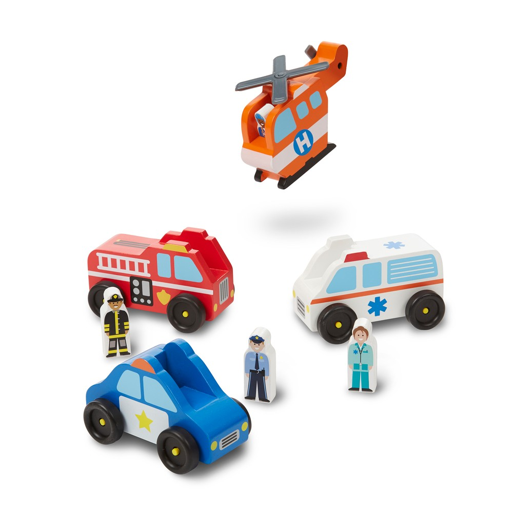 Melissa & Doug Emergency Vehicle Wooden Play Set With 4 Vehicles, 4 Play Figures