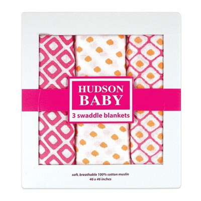 Hudson Baby Infant Girl Cotton Muslin Swaddle Blankets, Pink Dots, One Size