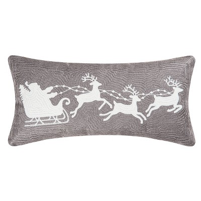 """C&F Home 12"""" x 24"""" Gray Flying Sleigh Rice Stitch Christmas Holiday Throw Pillow"""