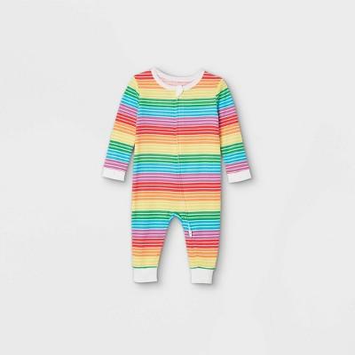 Baby Striped Matching Family Pajamas Union Suit - Rainbow