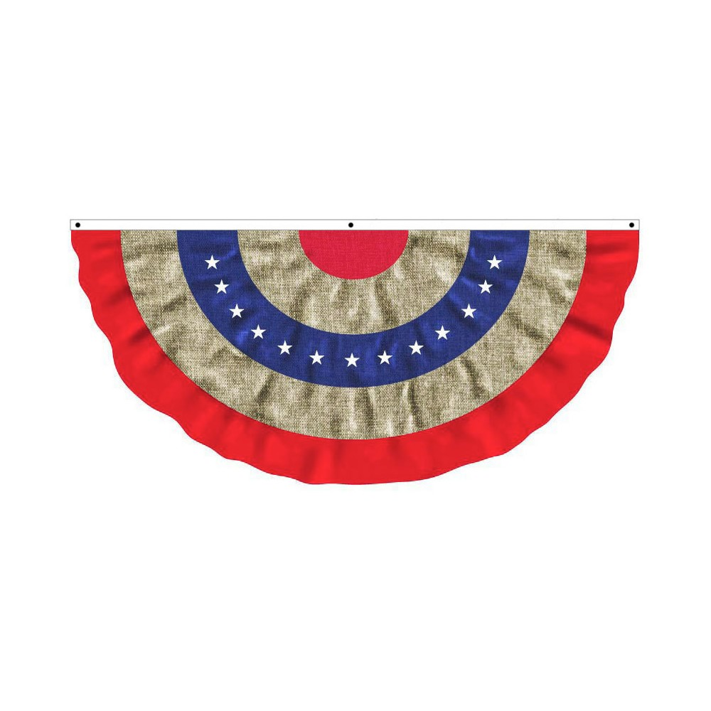 Burlap Patriotic Large Bunting, Multi-Colored
