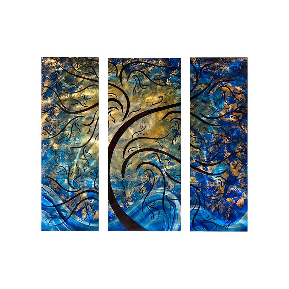 Forward Reaching Metal Wall Art, Black/Blue/Gold