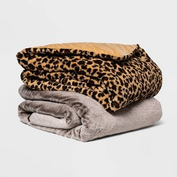 "60"" x 80"" Faux Fur Weighted Blanket with Removable Cover - Threshold™"