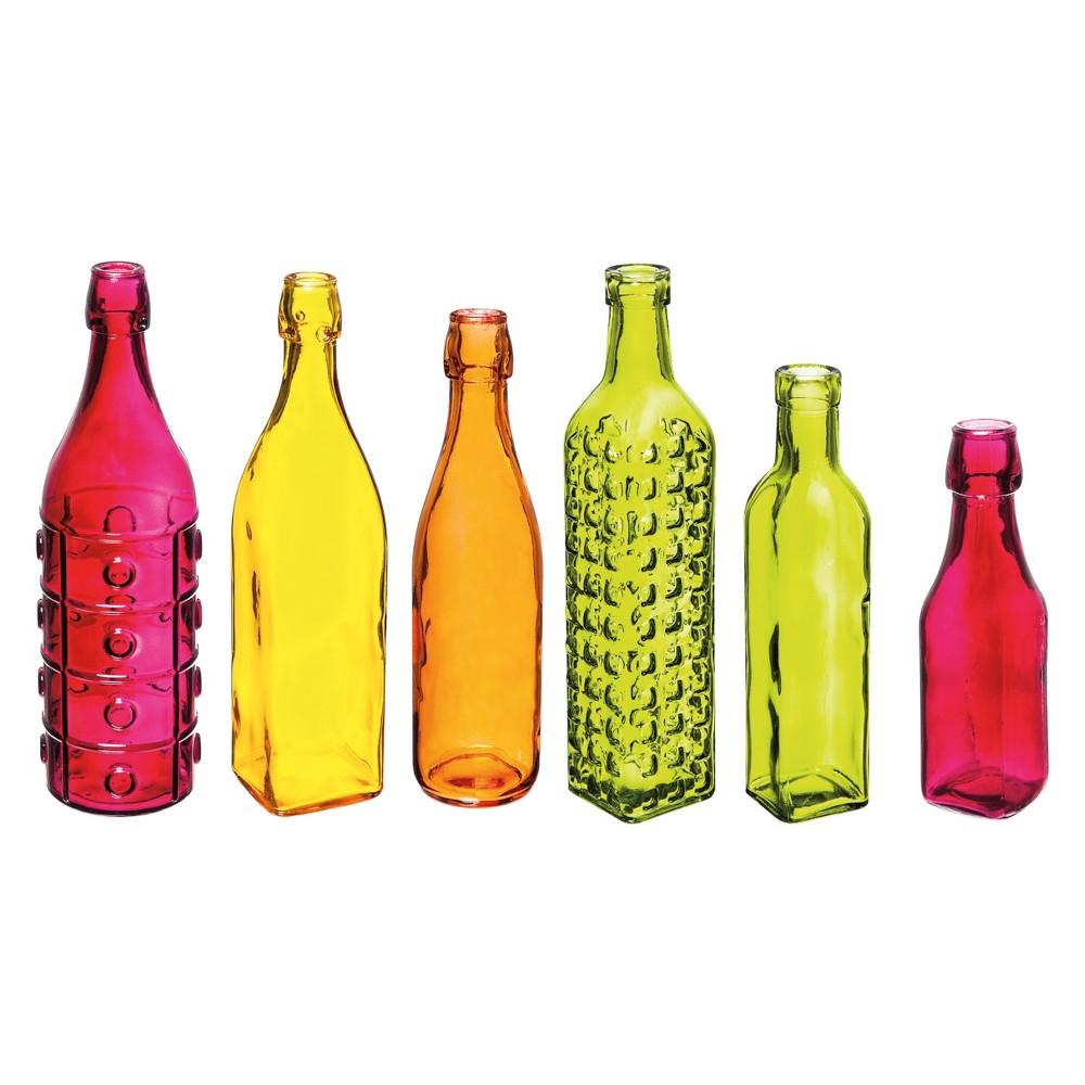 6pc 12 Colorful Glass Bottle Vases Evergreen