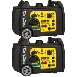 Champion 3400 Watt Portable Electric Start Dual Fuel Inverter Generator (2 Pack)