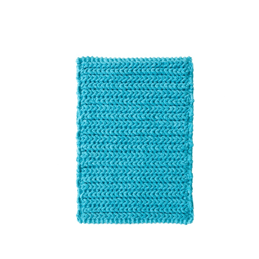 Braide Cotton Chenille Chain Stitch Bath Rug Blue