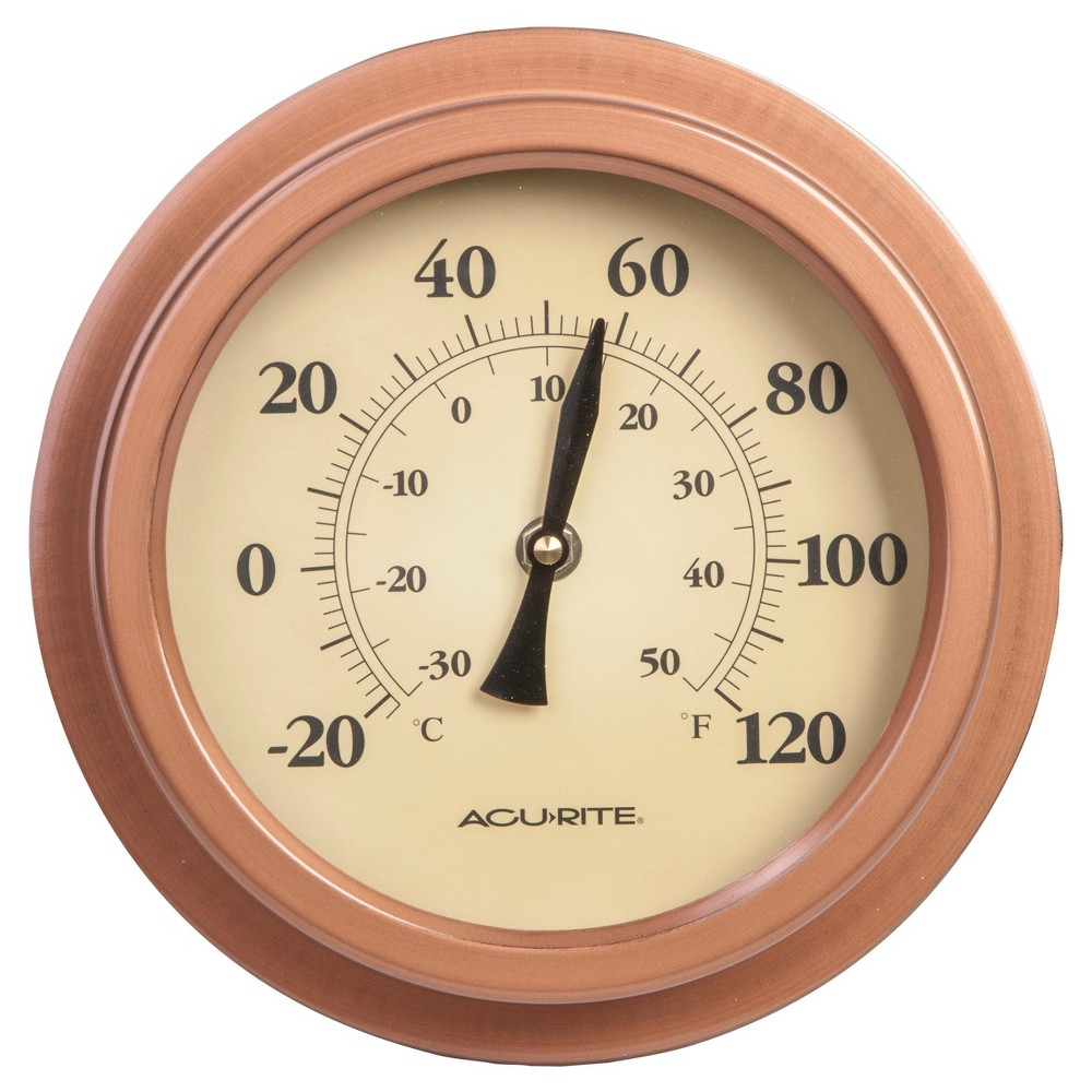 Image of 8.8 Metal Outdoor / Indoor Thermometer - Copper Finish - Acurite, Silver