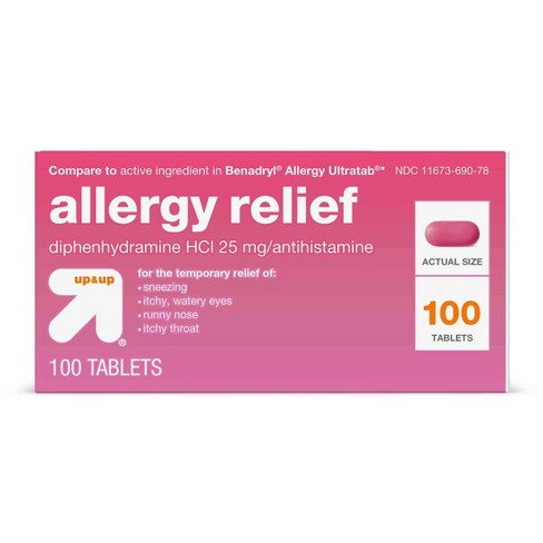 Diphenhydramine HCI Allergy Relief Tablets - (Compare to Benadryl Allergy  Ultratab) - 100ct - Up&Up™