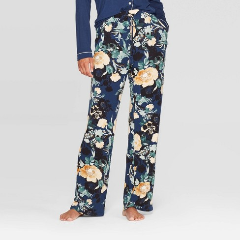 Women's Floral Print Beautifully Soft Pajama Pants - Stars Above™ Navy - image 1 of 2