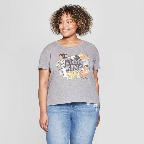 851737a75 Women's Disney Distressed The Lion King Plus Size Short Sleeve Crewneck T- Shirt (Juniors') - Gray