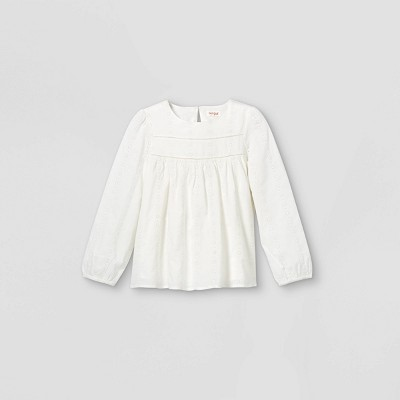 Girls' Embroidered Long Sleeve Woven Top - Cat & Jack™
