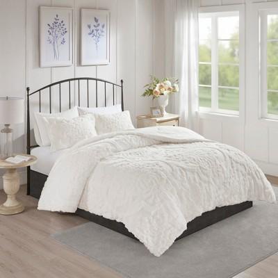 3pc King/California King Eugenia Cotton Damask Comforter Set White