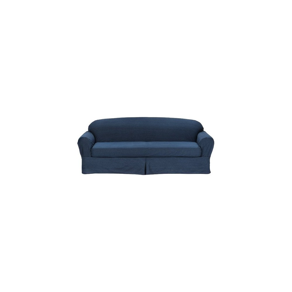 Image of 2pc Indigo Casual Home Twill Loveseat Slipcover - Target Home, Size: 2pc Sofa, Blue