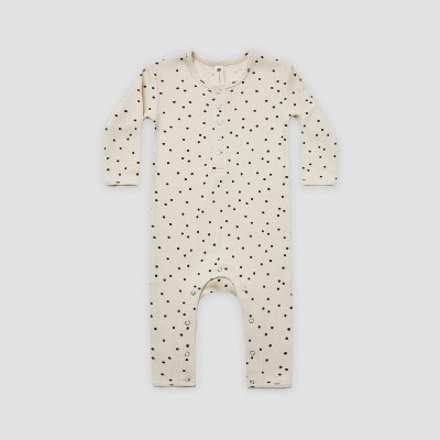 Q by Quincy Mae Baby Polka Dot Rib Long Sleeve Romper - Off-White 0-3M
