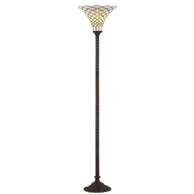 """70"""" White Tiffany Torchiere Floor Lamp (Includes LED Light Bulb) Bronze - JONATHAN Y"""
