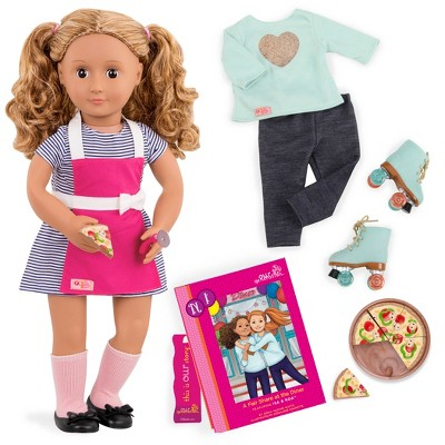 Our Generation Deluxe Restaurant Doll with Book - Isa