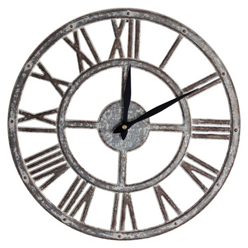 Galvanized Metal Wall Clock Gray - E2 Concepts - image 1 of 6