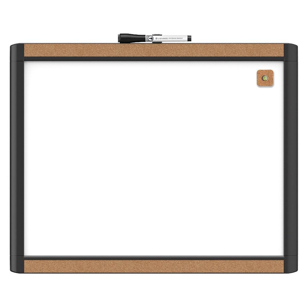 U Brands Pin-It Dry Erase Board, 20 x 16 - Plastic and Cork Frame, White