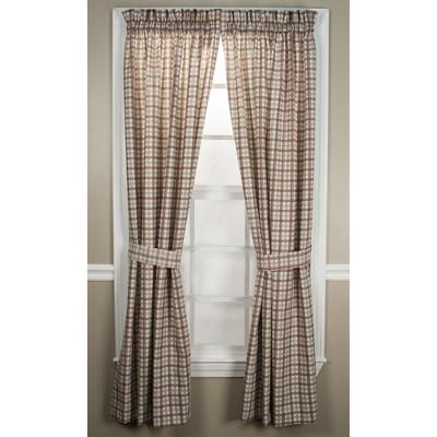 "Ellis Curtain Bristol Plaid High Quality 2-Piece Window Rod Pocket Tailored Panel Pairs Curtains With 2 Tie Backs - 68""x63"""