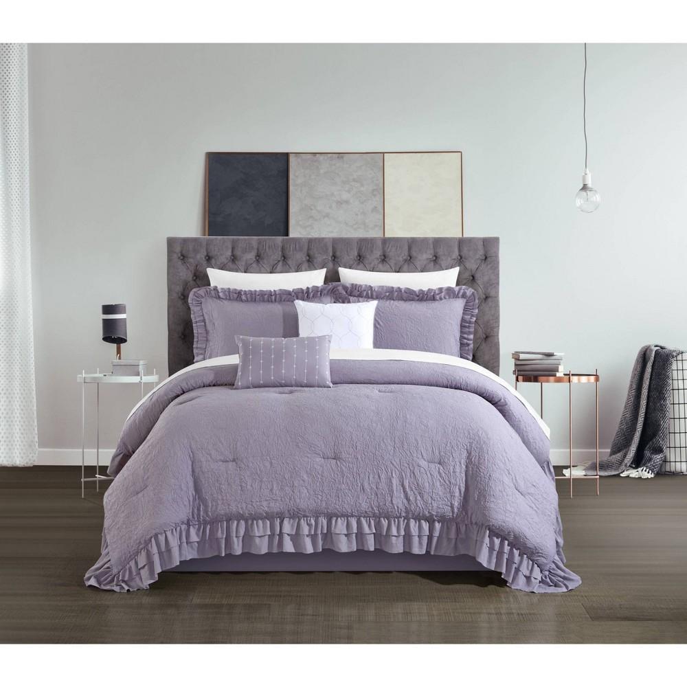 King 5pc Kaci Comforter Set Lavender Chic Home Design