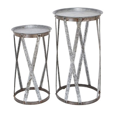 Set of 2 Farmhouse Round Iron Pedestals Gray - Olivia & May