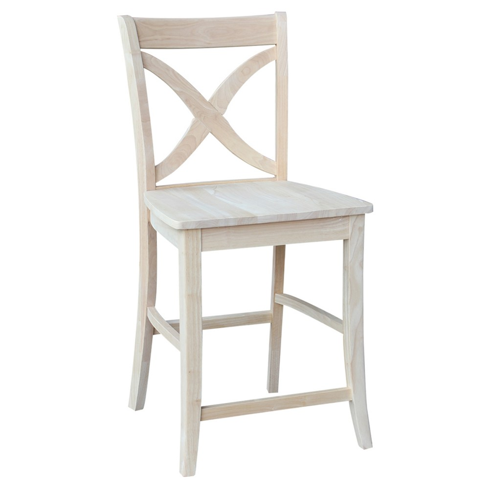 """Image of """"24.02"""""""" Vinyard Counter Stool - Unfinished - International Concepts, Off White"""""""