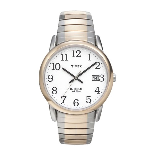 Men's Timex Easy Reader Expansion Band Watch - Two Tone T2H311JT, Size: Small, White