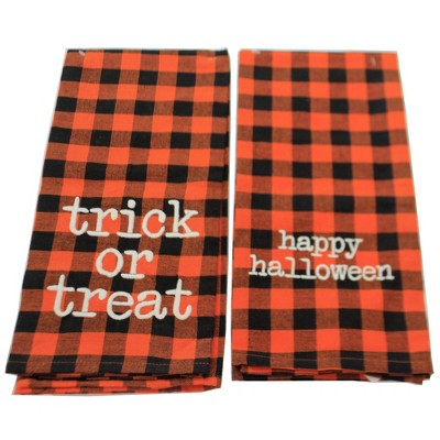 """Tabletop 28.0"""" Checkered Halloween Towels S/2 100% Cotton Kitchen Clean Up Primitives By Kathy  -  Kitchen Towel"""