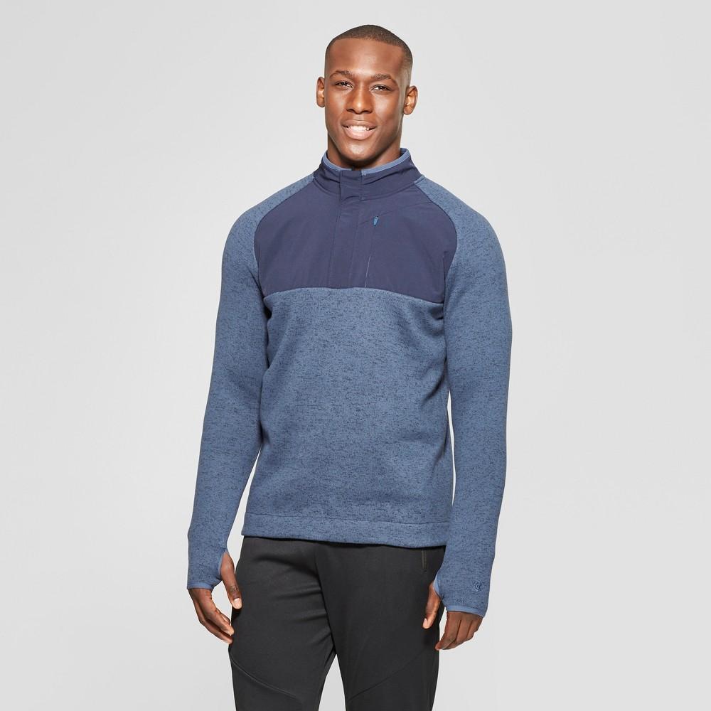 Men's Sweater Knit Fleece Quarter Zip - C9 Champion Elevation Blue Heather L