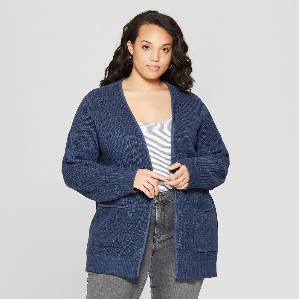 Women's Plus Size Long Sleeve Open Layering Cardigan - Universal Thread Navy (Blue) 2X