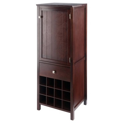 Brooke Cupboard 1 Drawer and Wine Holder Walnut - Winsome