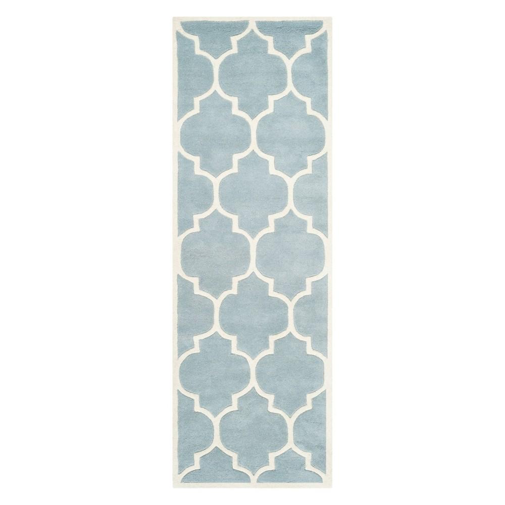 23X11 Quatrefoil Design Tufted Runner Blue/Ivory - Safavieh Coupons