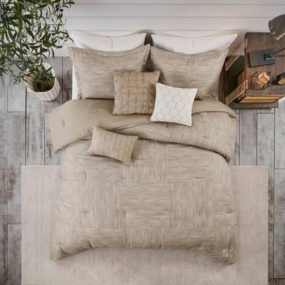 Queen 7pc Kelan Printed Seersucker Comforter Set Taupe
