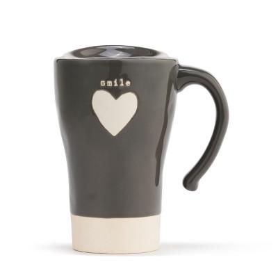 DEMDACO Smile Heart Travel Mug Gray