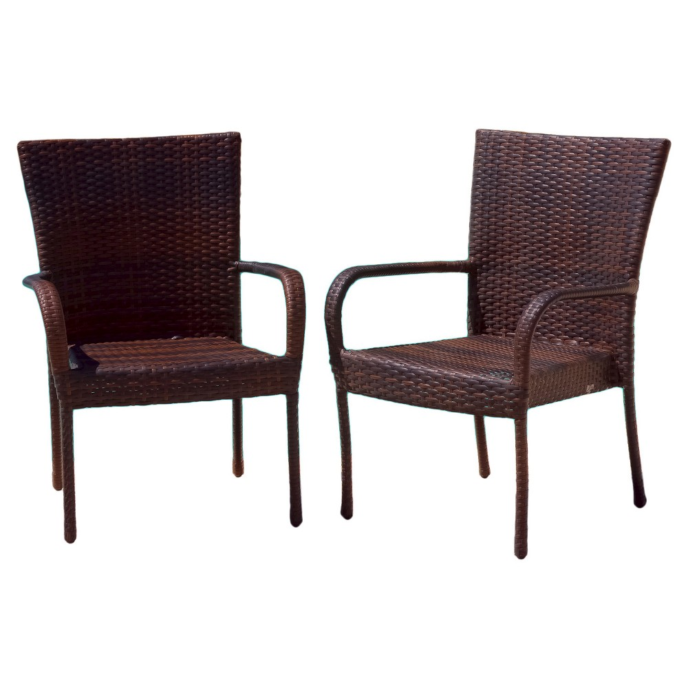 Littleton 4pk All-Weather Wicker Stackable Chair - Brown - Christopher Knight Home