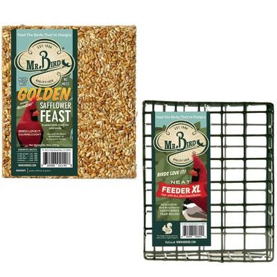 "Home & Garden 7.38"" Golden Safflower Feast & Cage Bird Set/2 Cardinals Feeding Mr Bird  -  Bird And Wildlife Food"