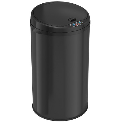 iTouchless Sensor Kitchen Trash Can with AbsorbX Odor Filter Round 8 Gallon Black Stainless Steel