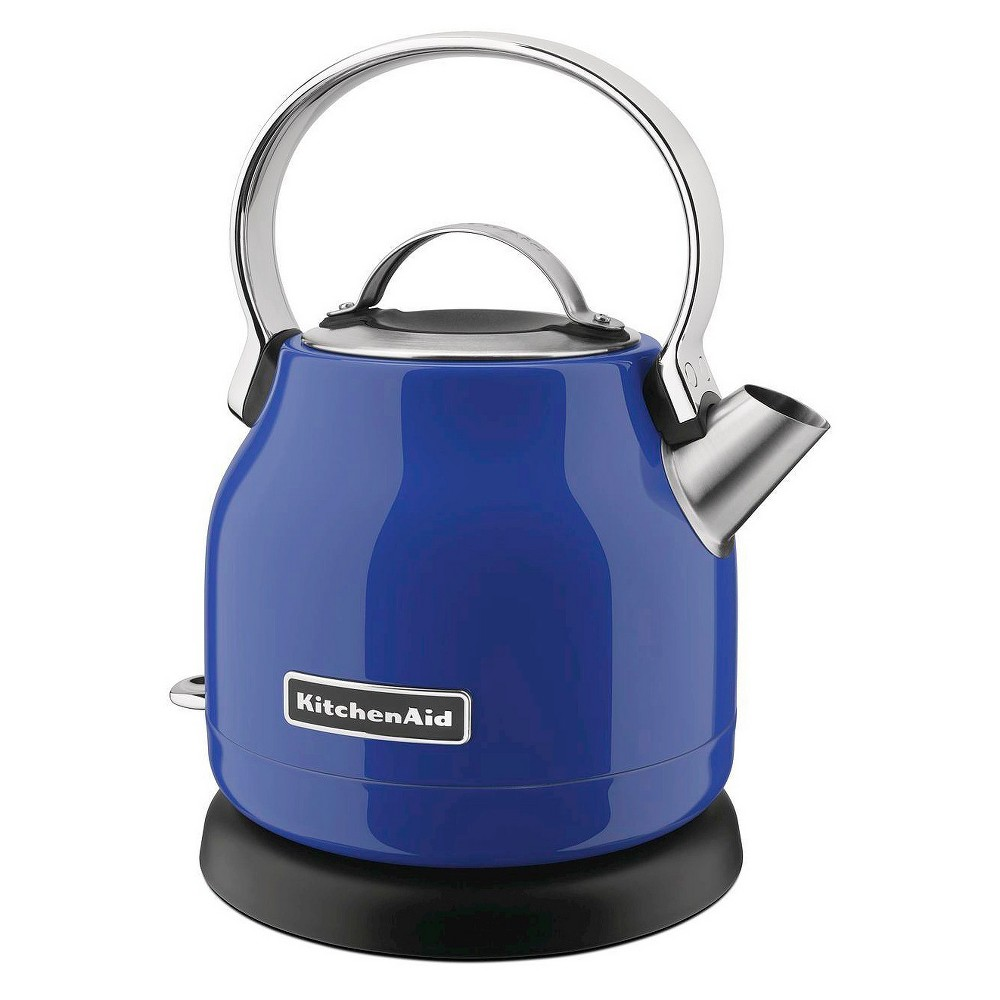 KitchenAid 1.25 Liter Electric Kettle - KEK1222, Blue Easy to Use, Compact and Stylish. This electric kettle has it all, and is available in a variety of colors, for just your style. Simple controls with an Led on/off switch and 'On' indicator light. Electric kettle comes with a one year limited replacement warranty. Color: Blue.