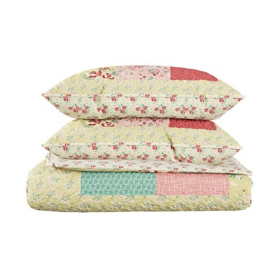 Hypoallergenic/Soft Microfiber Sweet Dreams Patchwork Pastel Floral Print Quilt & Sham Set