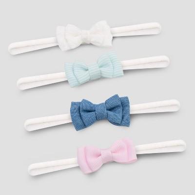 Baby Girls' 4pk Mini Bows Headwrap - Cat & Jack™ Blue/Pink/White Newborn-6M