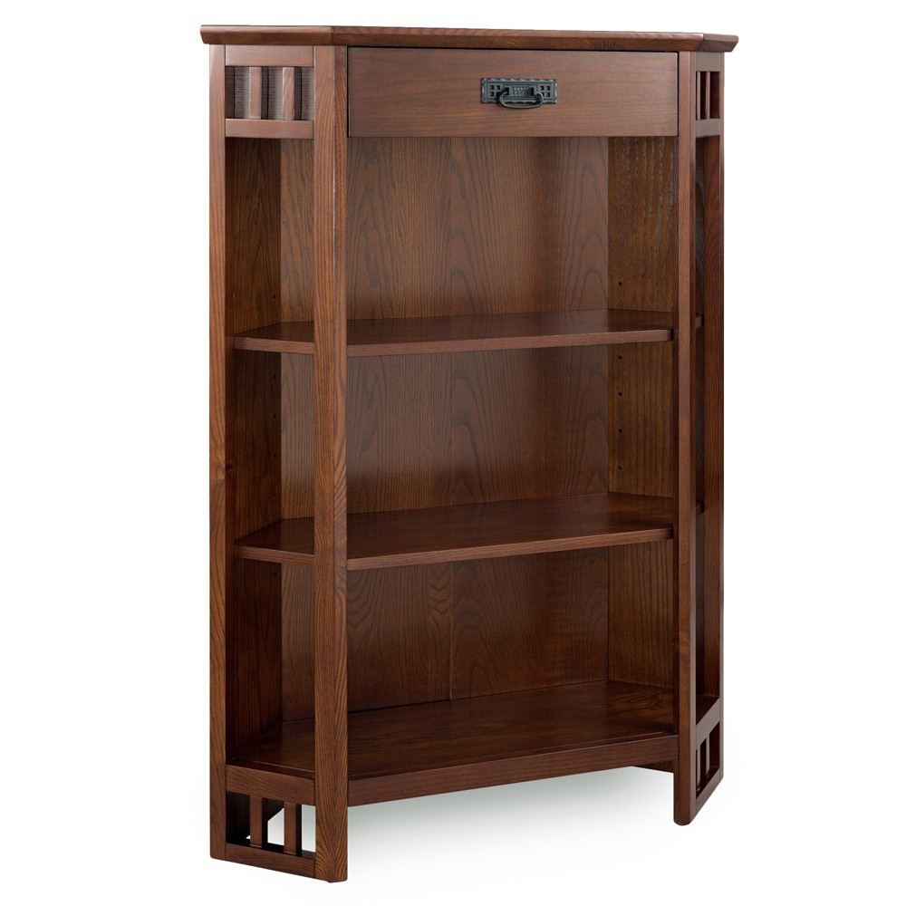 "Image of ""50"""" 3 Shelf Corner Bookcase Mantel Height Mission Oak - Leick Home, Brown"""